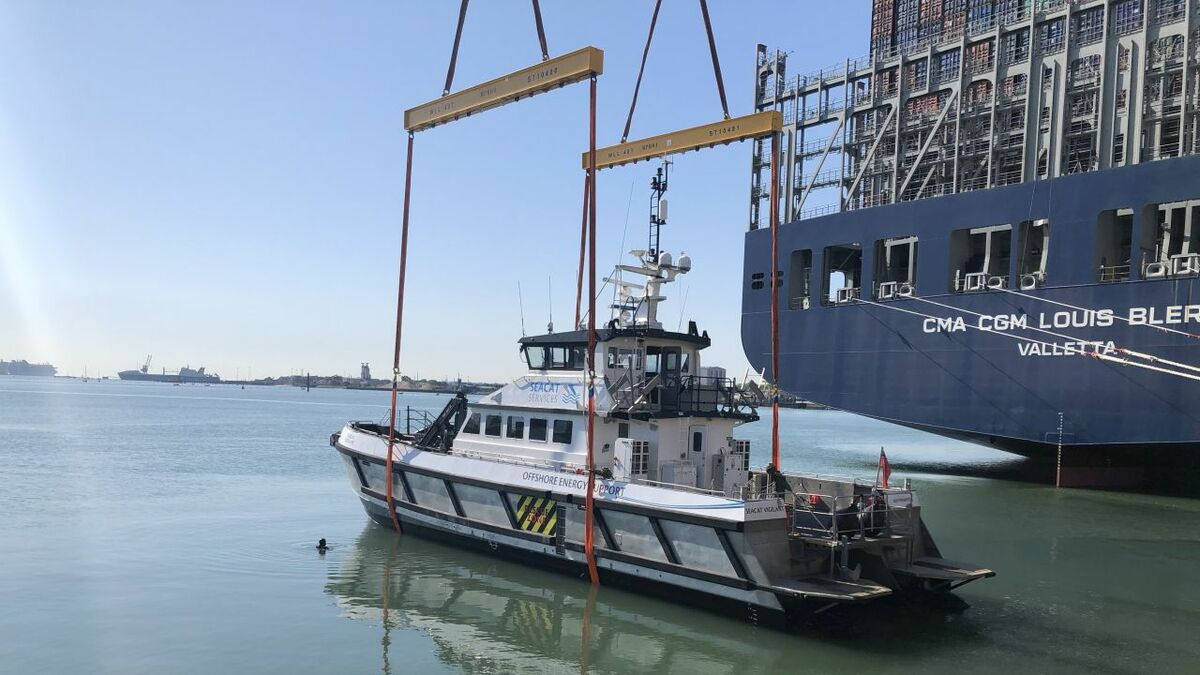 Seacat Vigilant is loaded onto a vessel ready for its departure to Taiwan