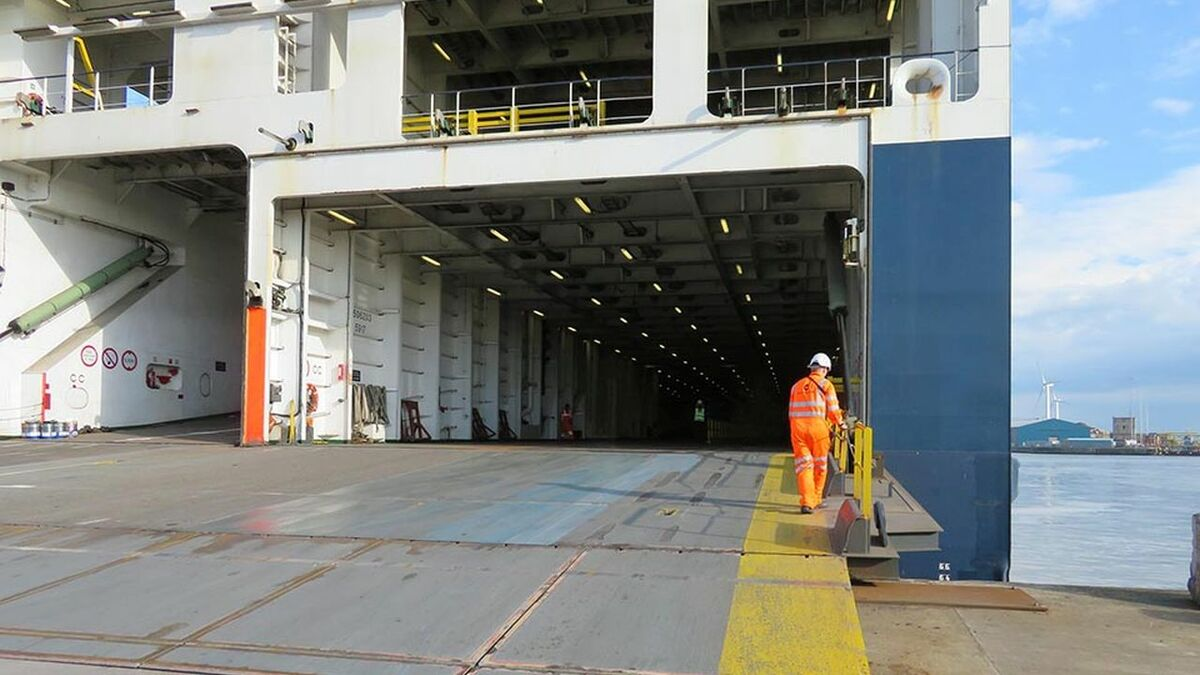 Stern ramp on roro ferry Seatruck Progress in Liverpool showing the painted pedestrian walkway