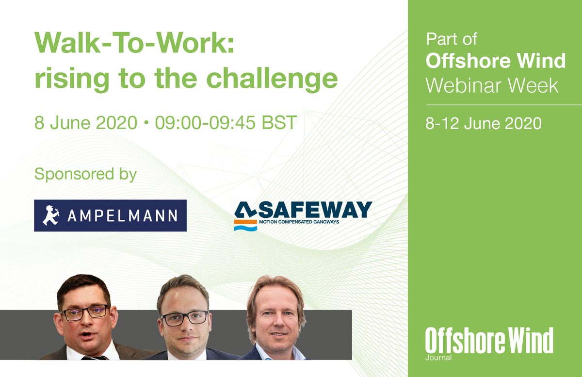 Webinar panellists from left to right: Stephen Bolton, CEO, Bibby Marine Services; Caspar Blum, Business Development Manager – Offshore Wind, Ampelmann Operations; Wijnand van Aalst, CEO, Safeway/Van Aalst Group