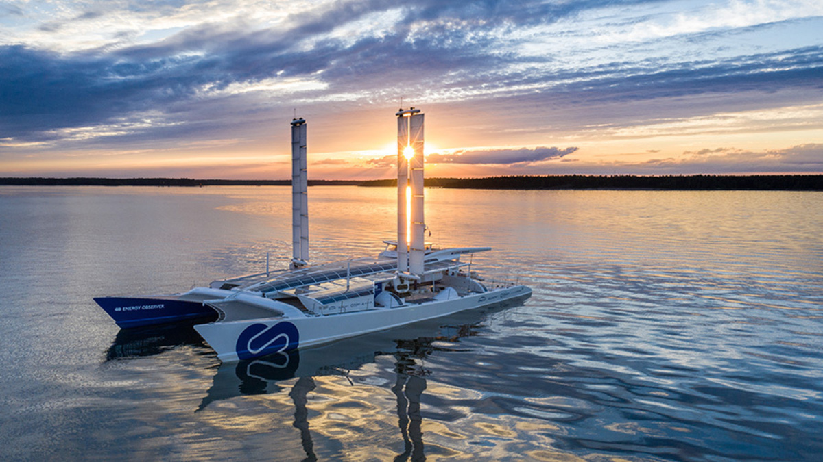 Energy Observer test vessel, a former racing catamaran, will feature Toyota's hydrogen fuel technology (Image: Toyota)