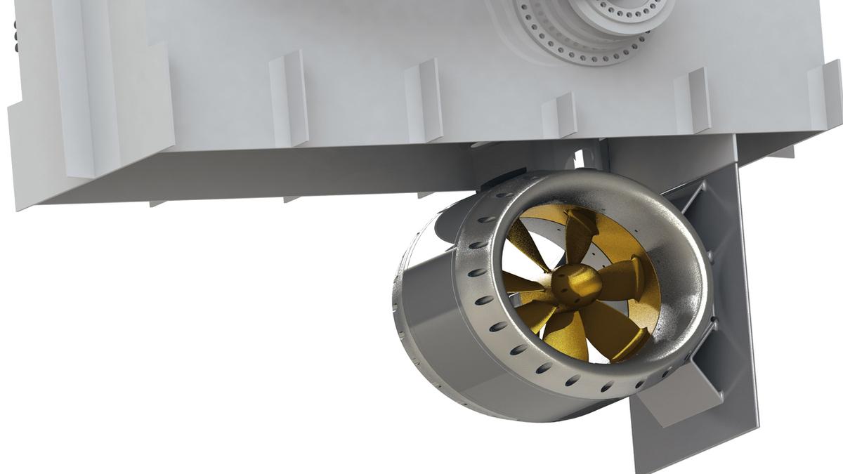 Schottel's SRT-R retractable thruster can cover a thrust radius of 360° (Credit: Schottel)