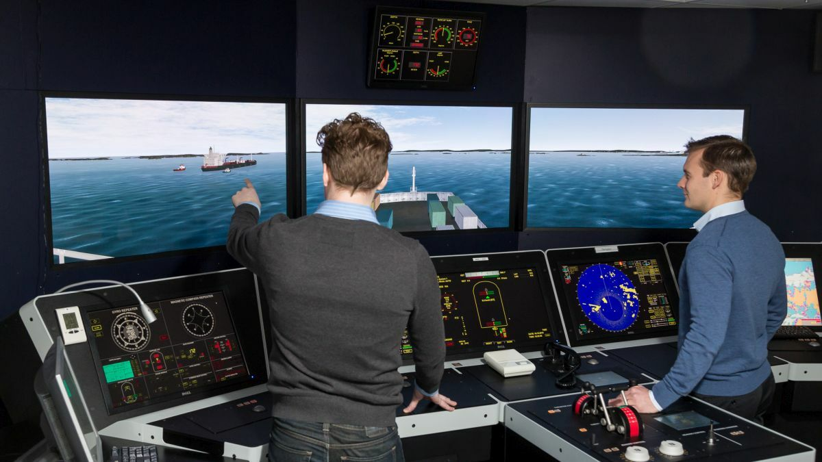 Bridge simulators are used to teach ship navigation skills