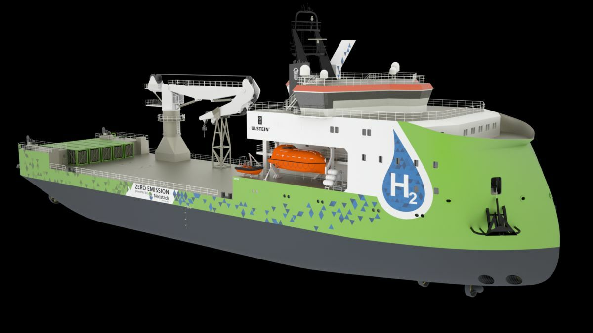 Initially, the hydrogen fuel-cell-powered CSV will use a containerised gas storage system on its aft deck