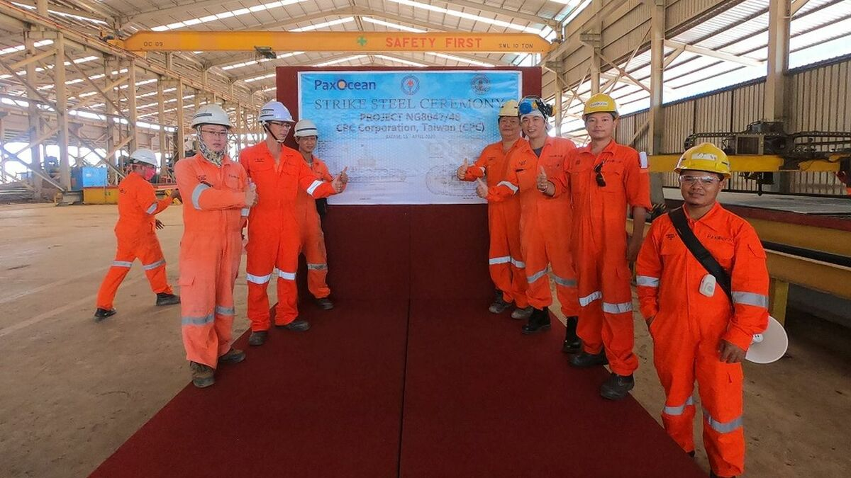 Workers at PT Graha Trisaka Industri shipyard celebrate steel cutting of a new tug (RAL)