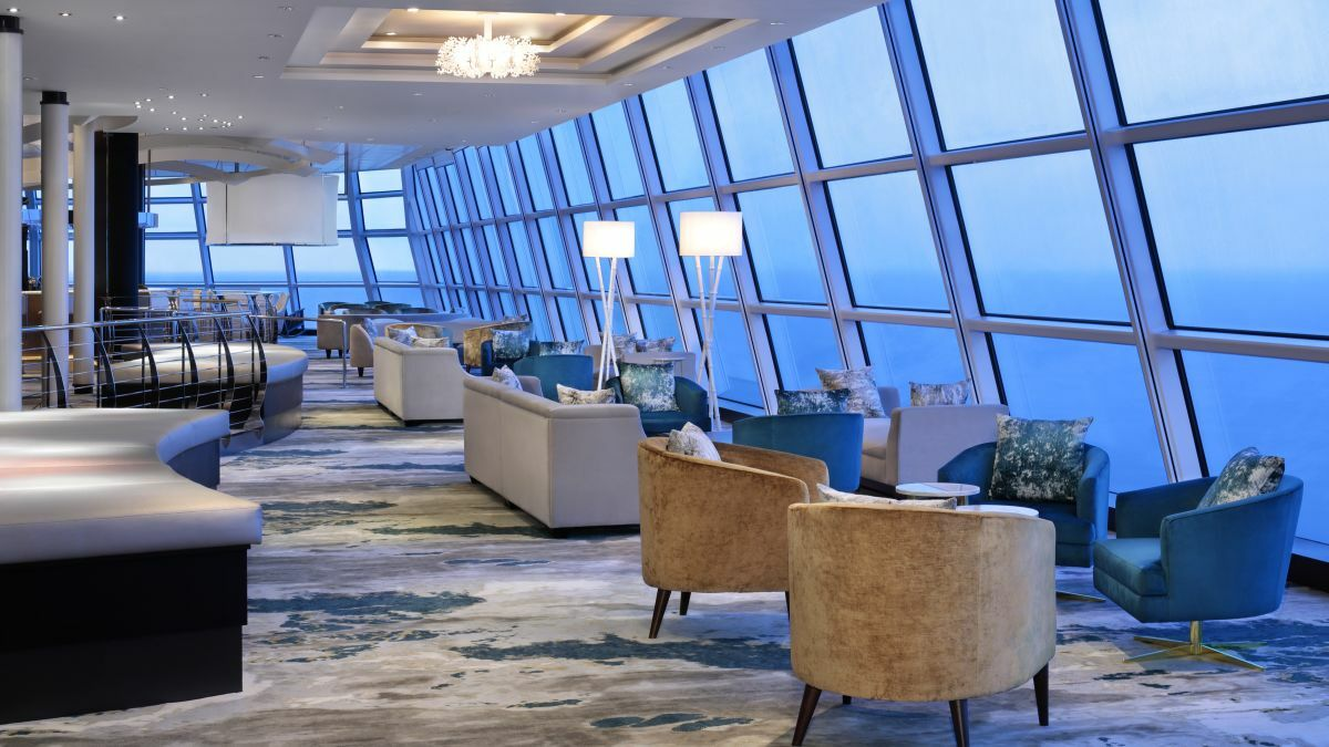 The Sky Observation Lounge is a quiet refuge in the day and becomes a music venue at night (credit: Royal Caribbean)