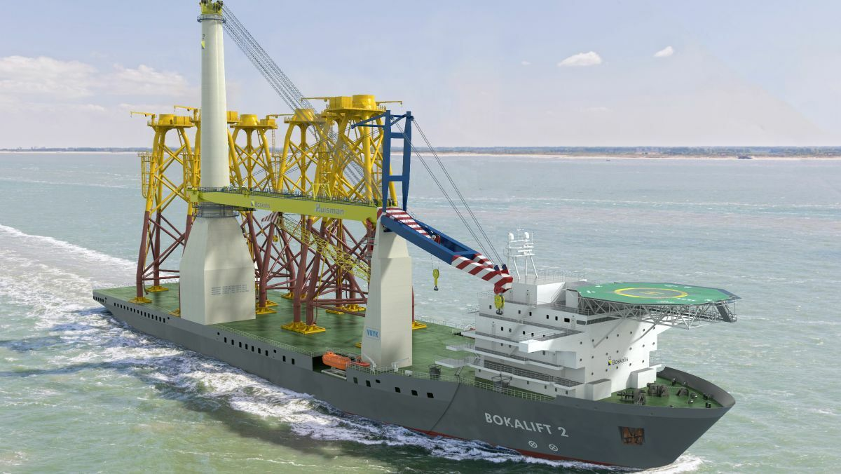 A former drillship, Bokalift 2 will be able to handle the largest generation wind turbines after its conversion
