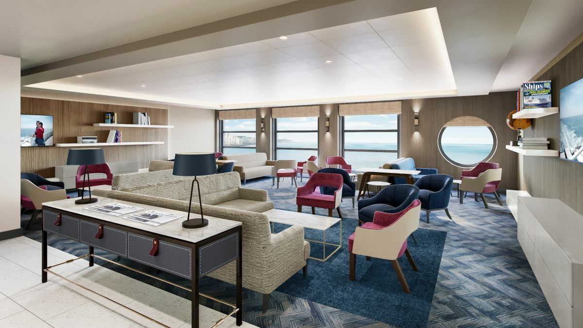 The new Premium Lounge has been remodelled so it is more open and has full sea views (credit: DFDS)