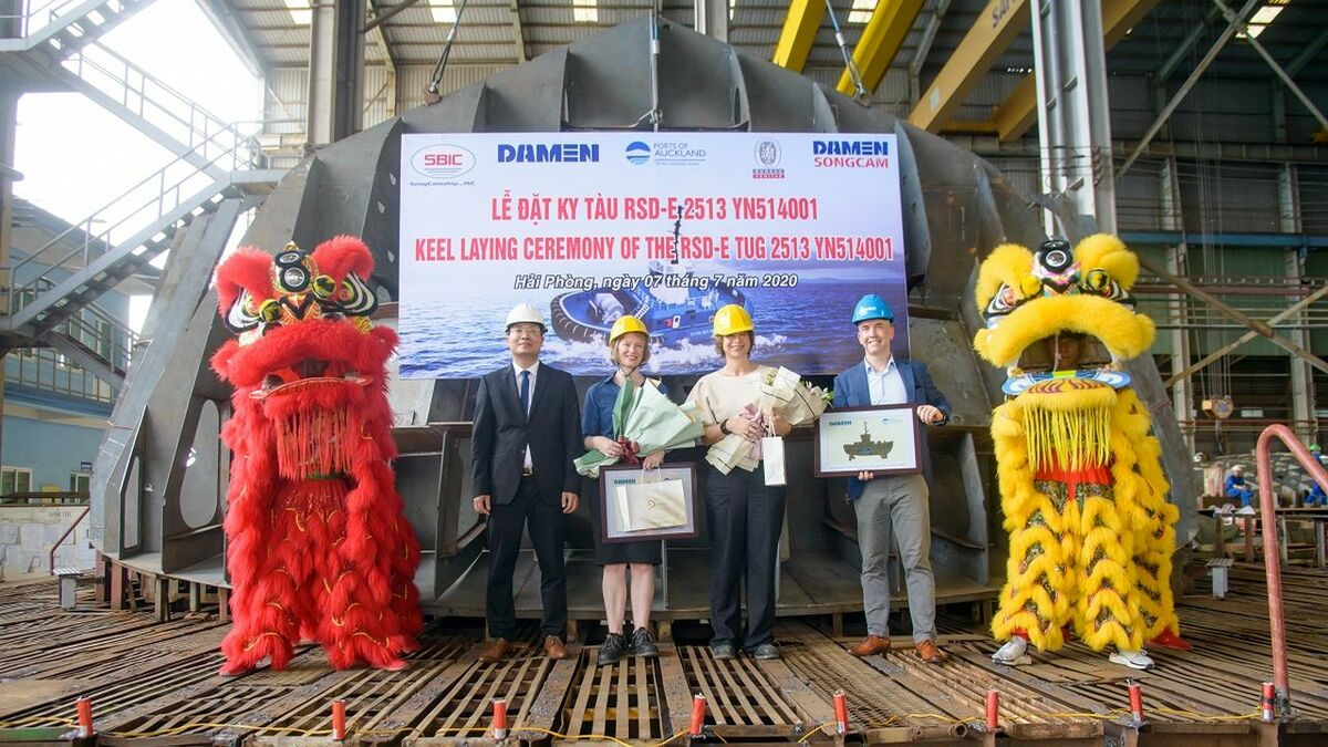 Damen holds keel laying in Vietnam for Port of Auckland's fully electric tug