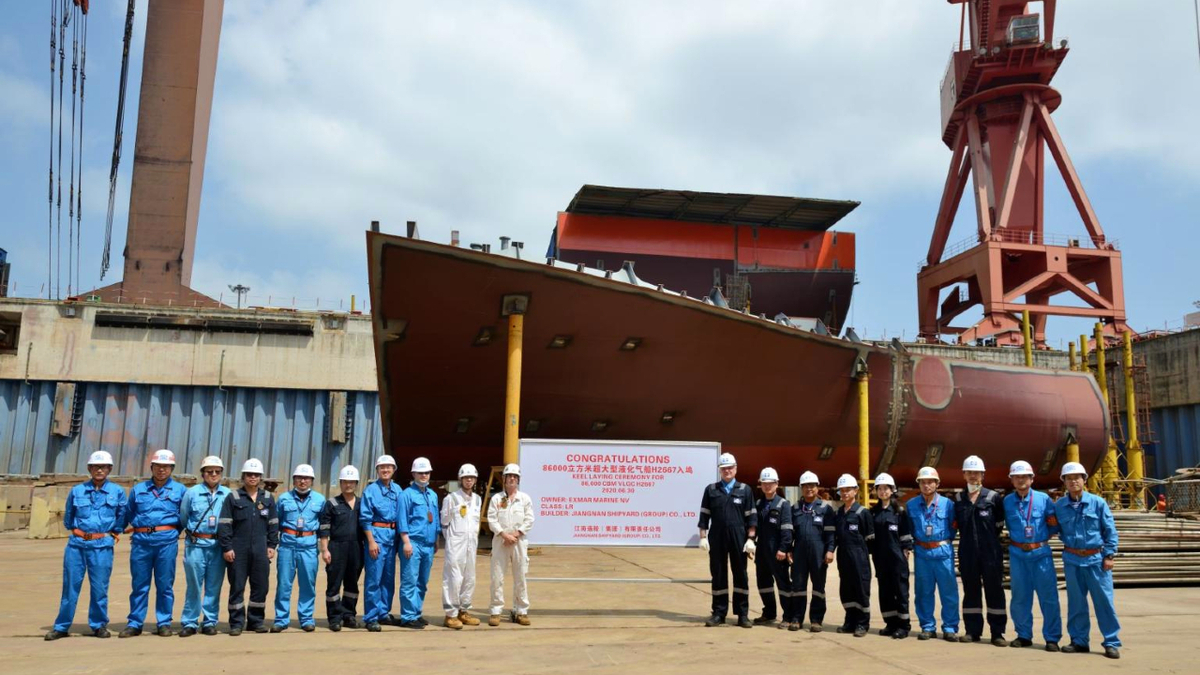 Keel laying ceremony at Jiangnan Shipbuilding for the first of two LPG-fuelled VLGCs
