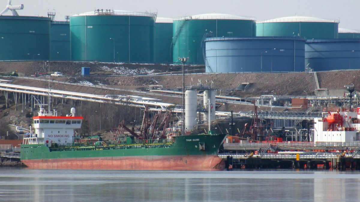 Tankers load oil at a port in Preemraff Lysekil municipality in Sweden