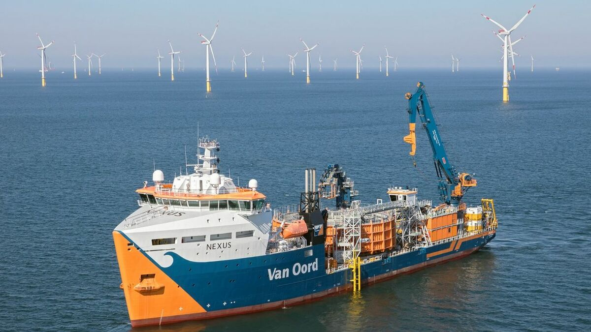 Van Oord's cable-lay vessel Nexus will install the cables for RWE's 1.4-GW project in the North Sea