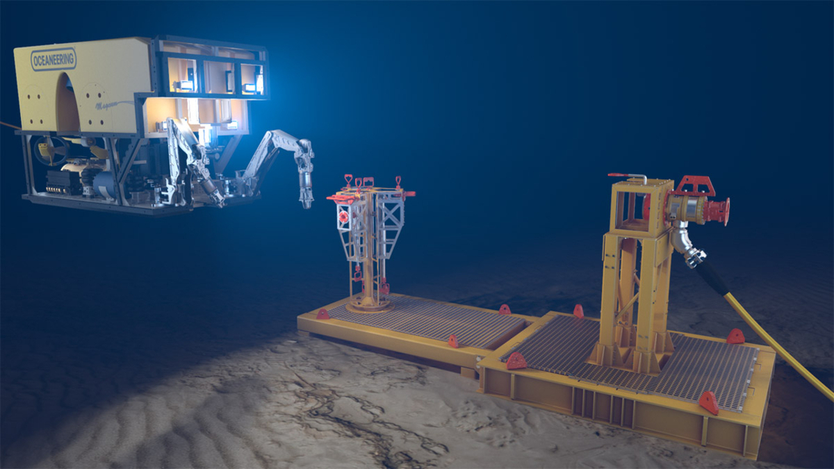 An ROV will be used to deploy Oceaneering's M5 connector in the Western Australia project