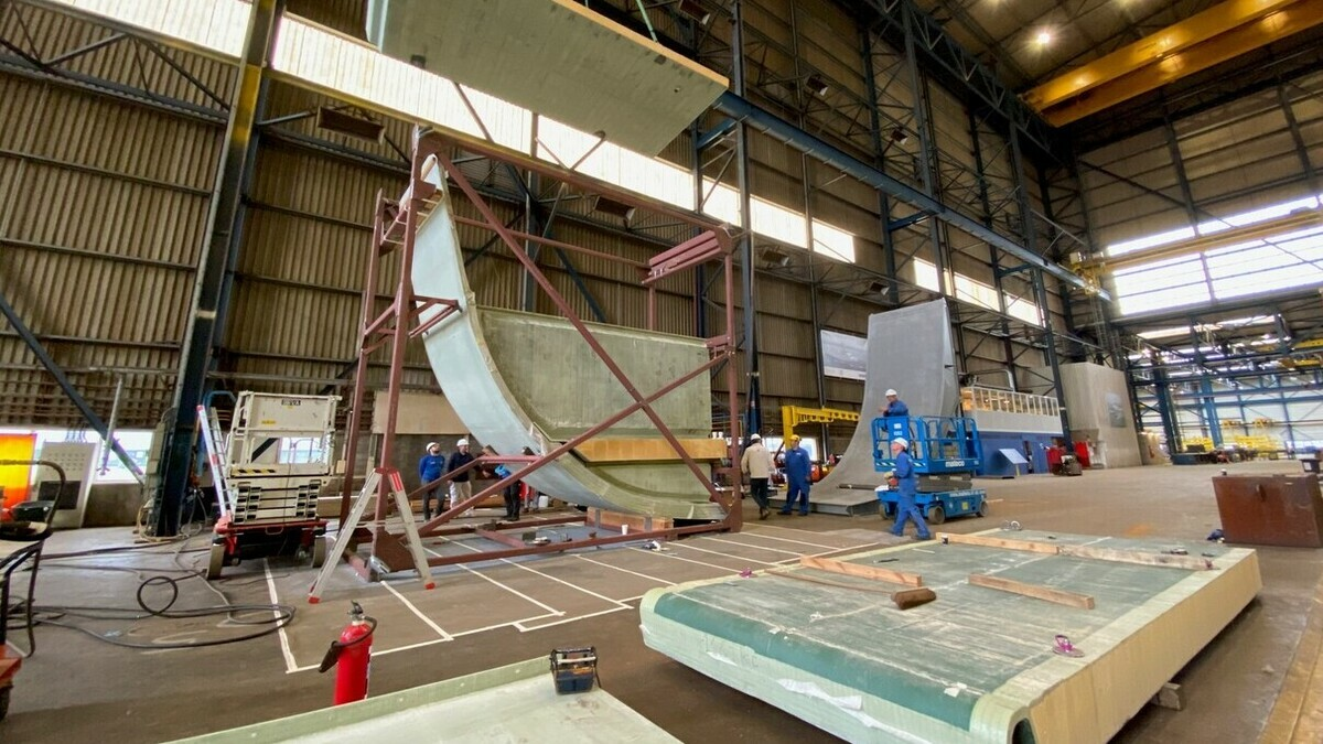 Partners on the RAMSSES project recently unveiled a composite ship's hull section (Image: Damen)
