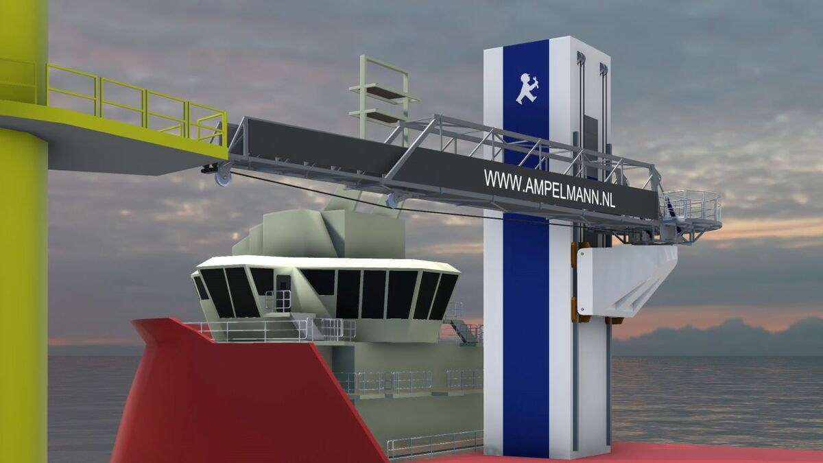 The Ampelmann SOV concept integrates the system into a tower that raises the gangway to the required lifting height