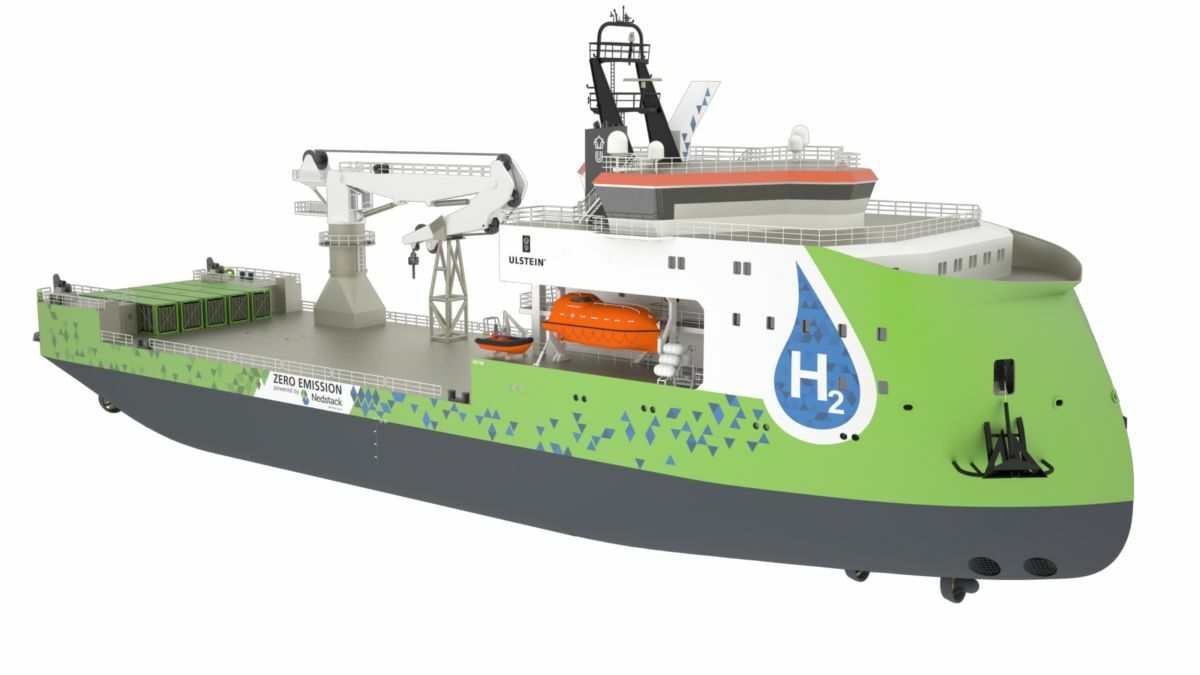 Ulstein SX190 construction support vessel is designed with a 2-MW hydrogen fuel cell on board