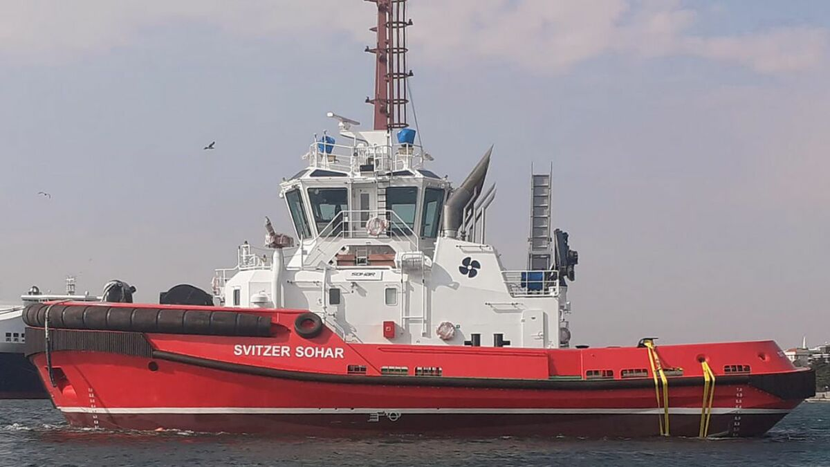 Svitzer Sohar tug in Sohar, Oman was designed by Robert Allan and built by Sanmar