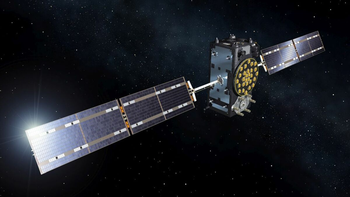 Artist view of ESA's Galileo ship tracking satellite to be secured by CYSEC