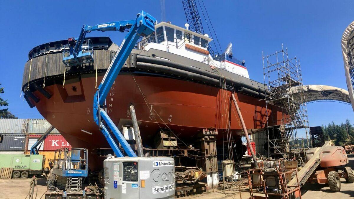 Foss' Sarah Averick at Nichols Brothers Boat Builders shipyard