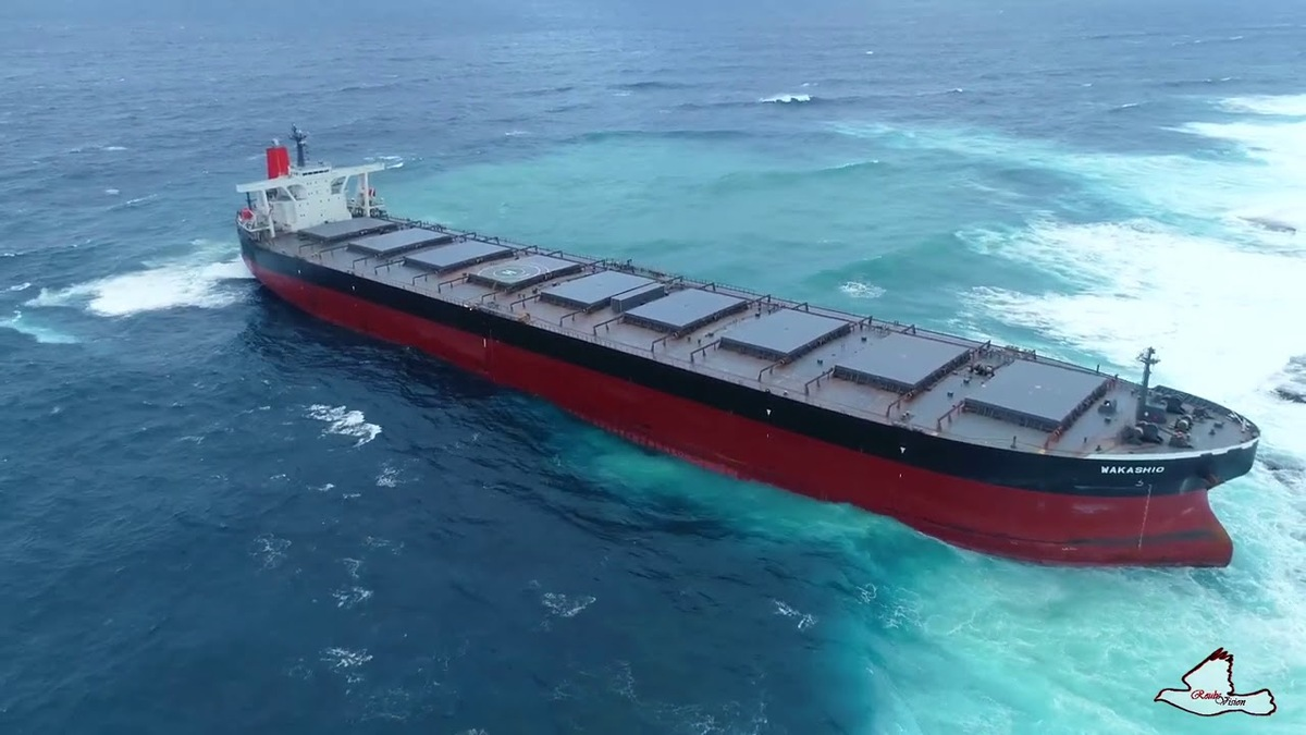 Wakashio bulk carrier grounded on a reef in Mauritius