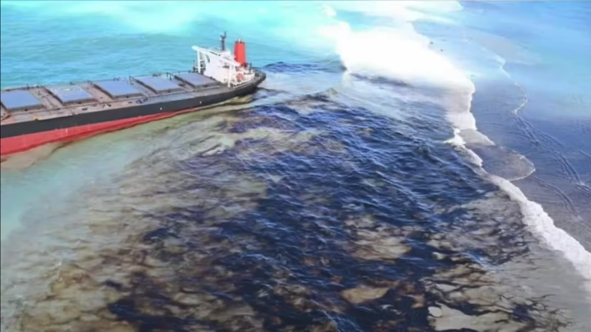 An oil slick from bulker Wakashio covers a reef on the island of Mauritius