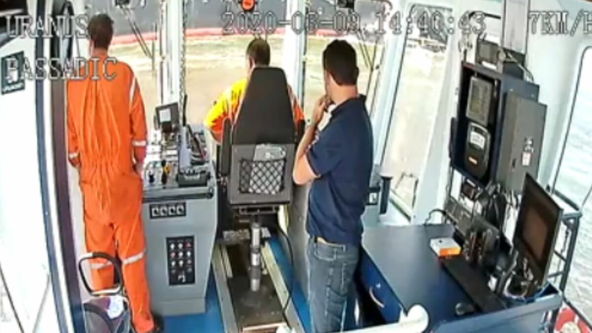 Video frame from CCTV on bridge of a Wilson Sons tugs during manoeuvres