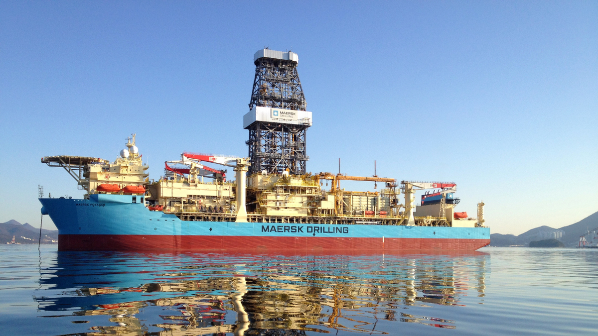 Maersk Voyager is contracted to Total to drill off of West Africa through August (image: Maersk Drilling)