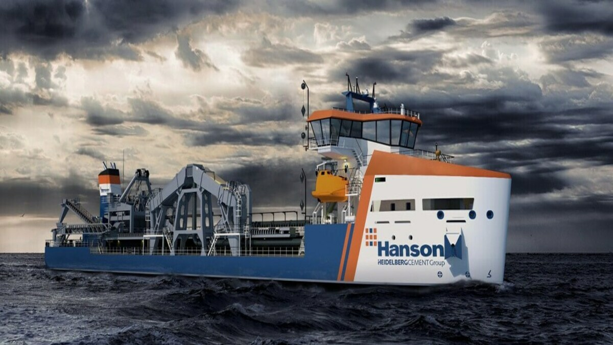 Artist's impression of Hanson Thames, that will feature the Enginei fuel management system (Image: Damen/Hanson Marine)