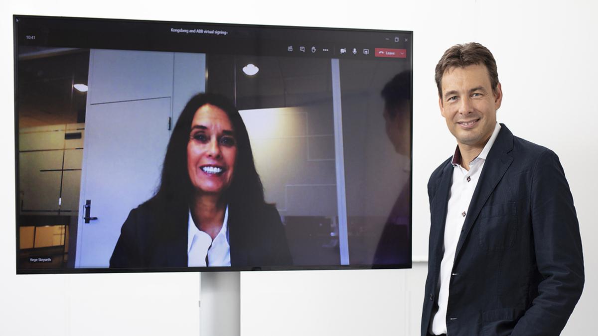 Helge Skryseth, President of Kongsberg Digital (on screen) and Cristian Corotto, Vice President Digital Customer Solutions, ABB Turbocharging, at the virtual signing of the new partnership (Image: ABB)