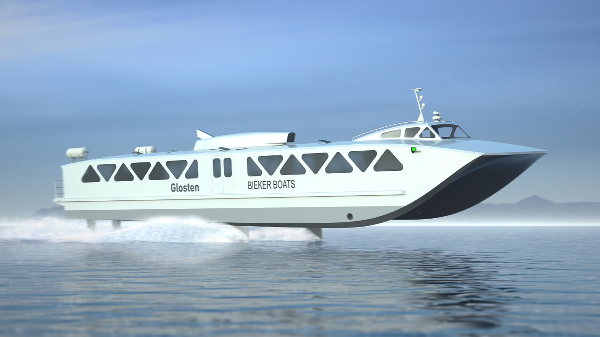 With a carbon fibre catamaran hull, the Foil Ferry has the potential to cut 1,500 tonnes of CO2 emissions in a year (image: Glosten/Bieker)