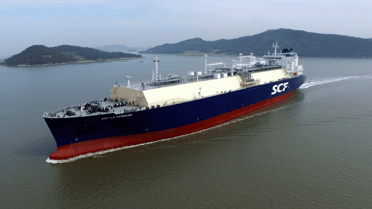 Chartered to Total, La Perouse is the first of three Atlanticmax LNG carriers for Sovcomflot's fleet (image: SCF)
