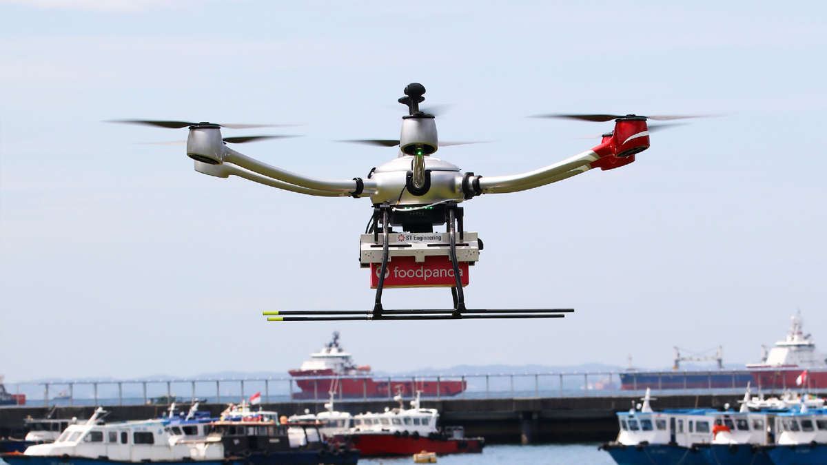 Pilot project used a drone to deliver food to OSV 3 km offshore (image: ST Engineering)