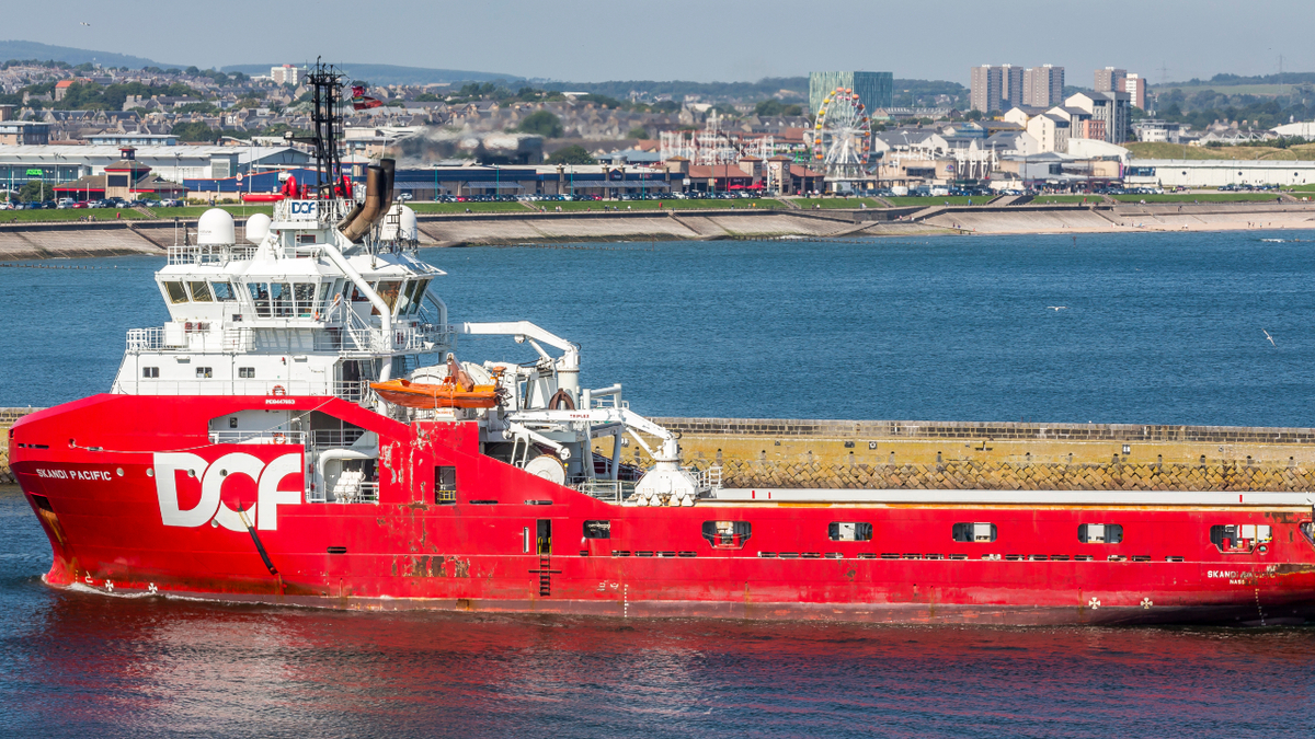 Skandi Pacific is one of five AHTS vessels that will eventually be sold (image: Alan Jamieson)