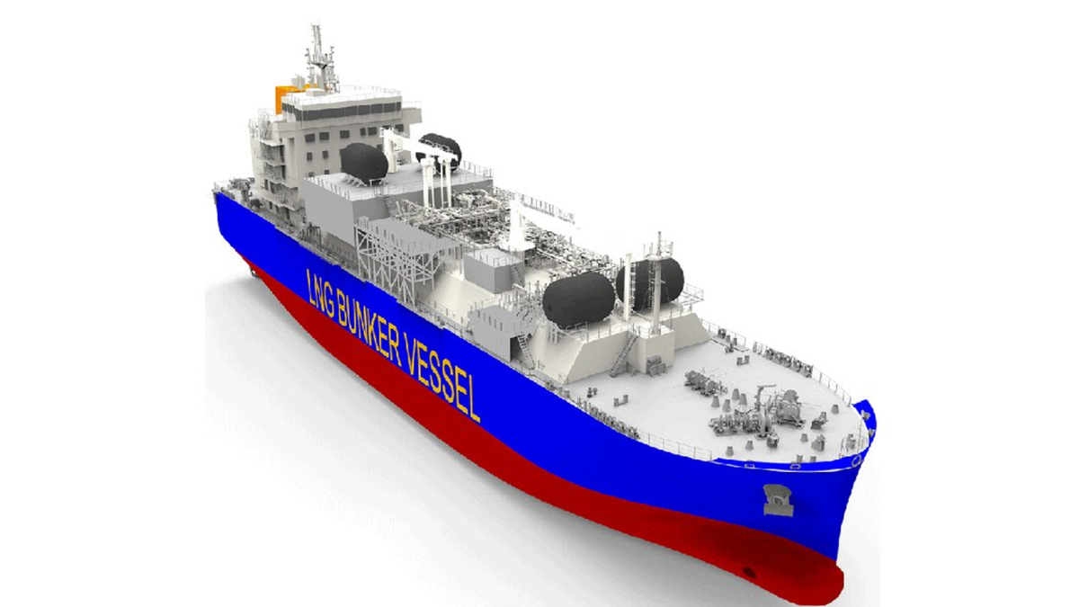 3D rendering of LNG bunker vessel (source: Total)