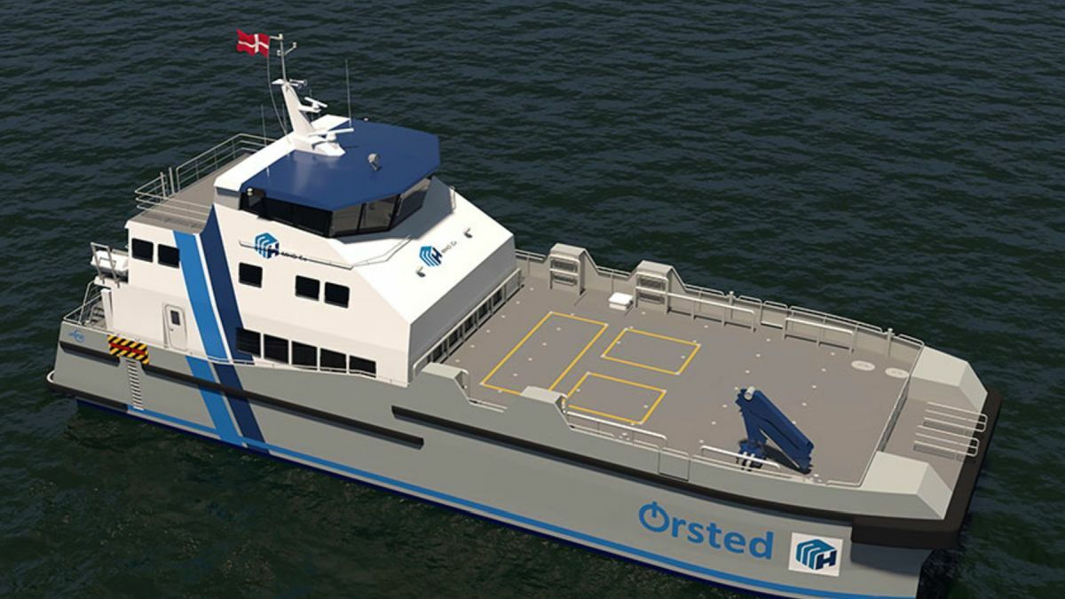 This new hybrid 35-m CTV is designed to adapt the use of hydrogen power generation (Source: Incat Crowther)