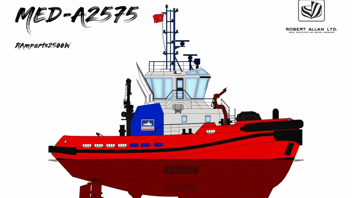 A MED-A2575 tug was designed by Robert Allan for Med Marine (source: RAL)