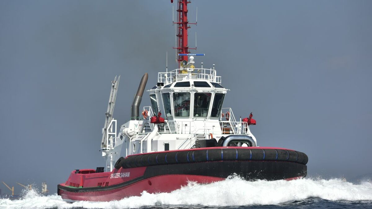 Sanmar-built Svitzer Saham supports ships in the Port of Sohar, Oman (source: Sanmar)