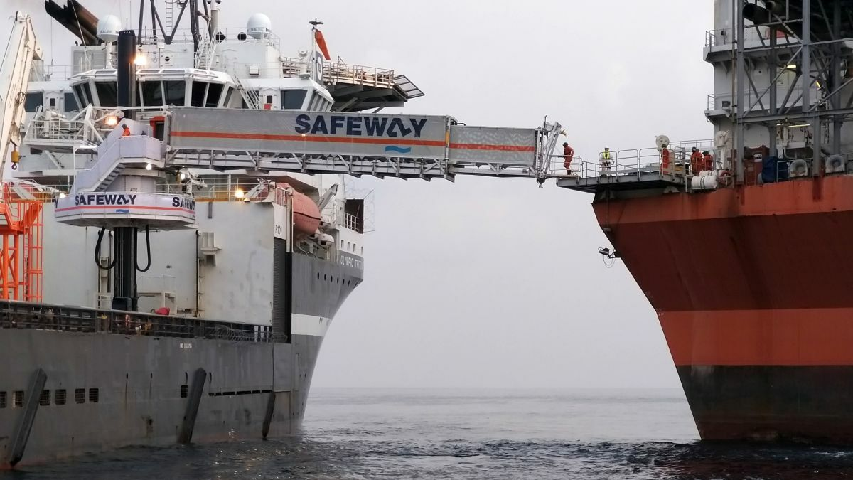 Subsea vessel Olympic Triton was fitted with a Safeway Seagull W2W access system for Shell's Bonga FPSO (source: Safeway)