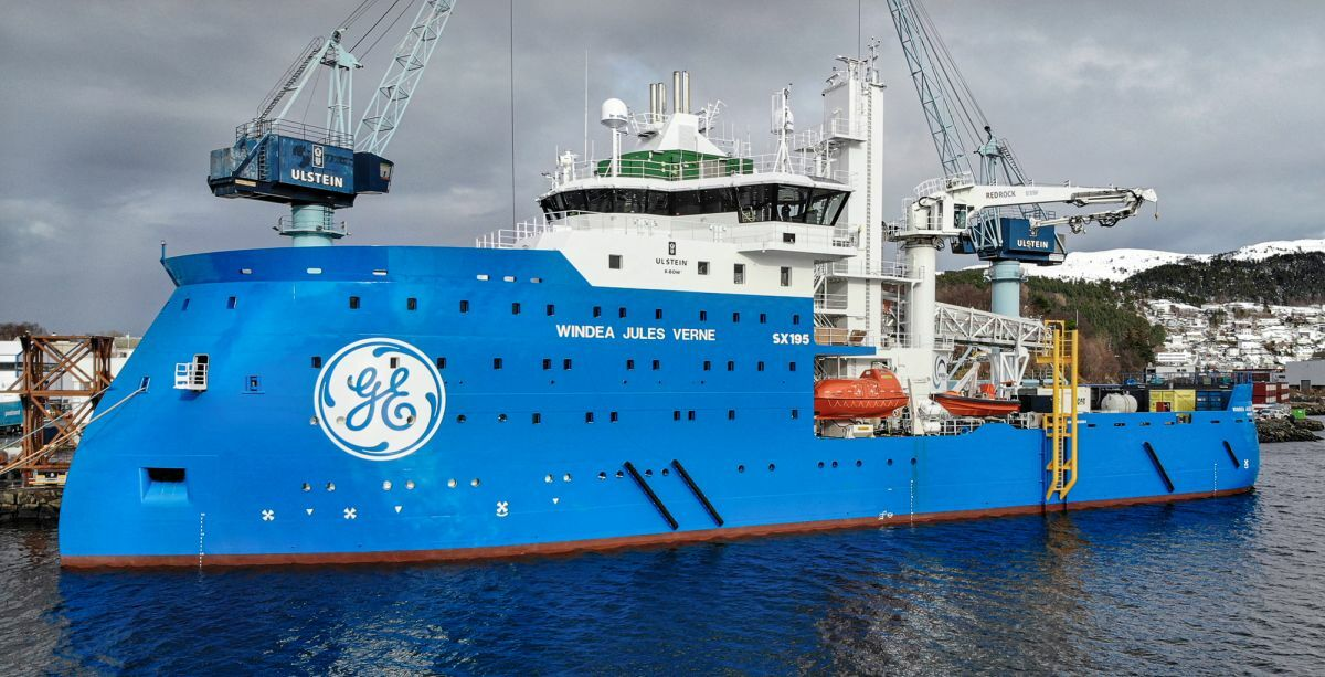 Hybrid-powered Windea Jules Verne is now working at the Merkur Offshore windfarm (Source: BSO)