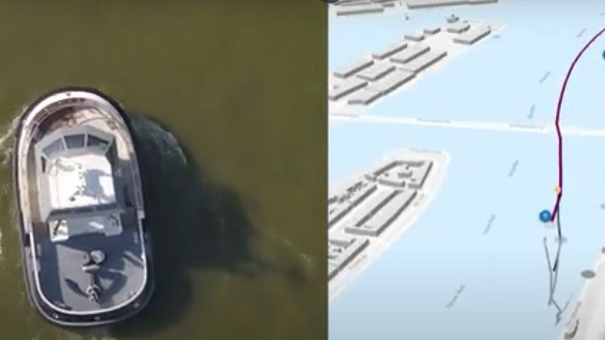 RT Borkum tug follows a Google Maps route using Captain AI software (source: Kotug)