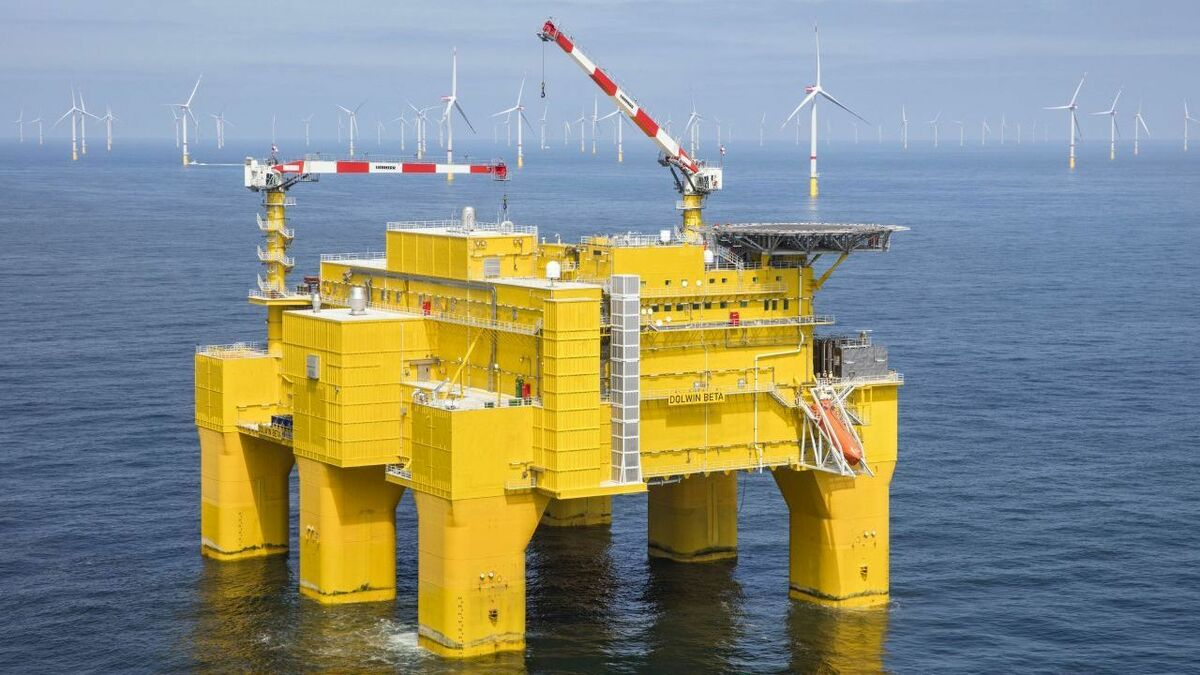 The Liebherr crane will be installed on the DolWin5 platform, which is similar to the DolWin beta platform, shown here
