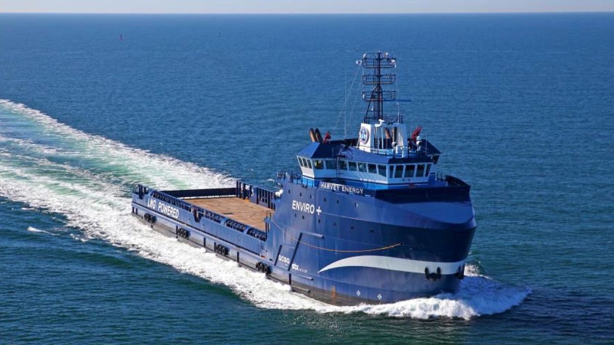 The LNG-fuelled Harvey Energy was HGIM's first OSV refit with batteries (Source: HGIM)