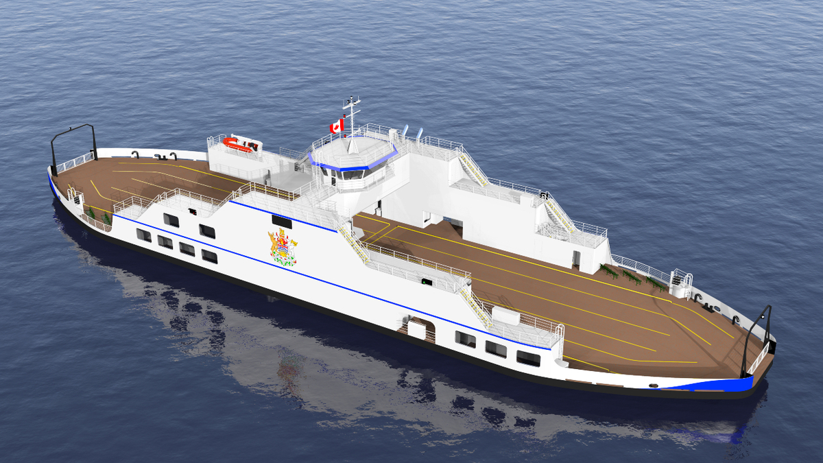The 55-car ferry will be converted to all-electric propulsion in 2030, when shore power is available (Source: BC Government)
