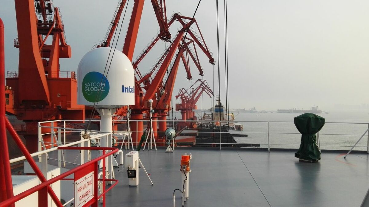 Aura VSAT on a PACC-managed ship for Ku-band connectivity (source: Satcom Global)