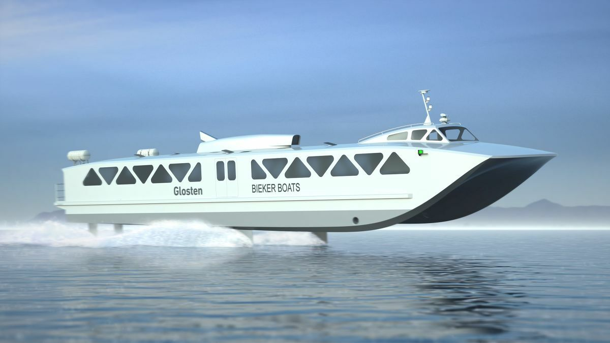 A public private partnership is advancing a hydrofoil-assisted, battery-powered ferry (source: Glosten/Bieker Boats)