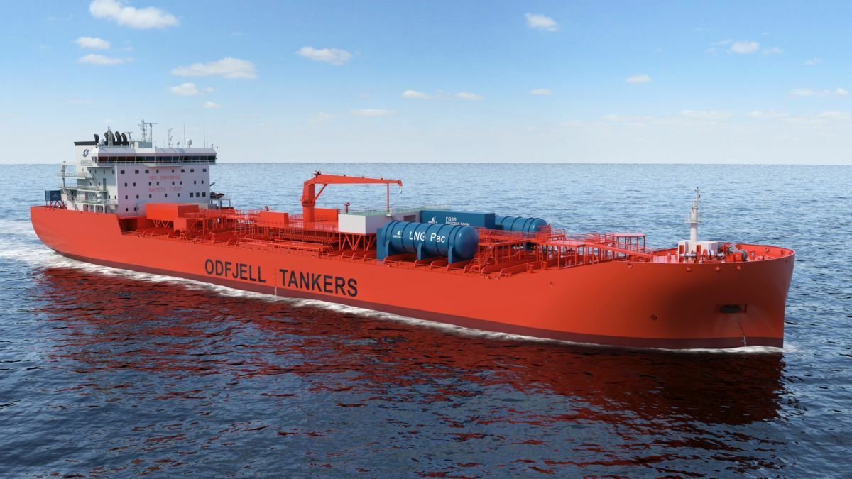 Illustration of the fuel cell solution (in blue) on board an Odfjell vessel (source: Odfjell)