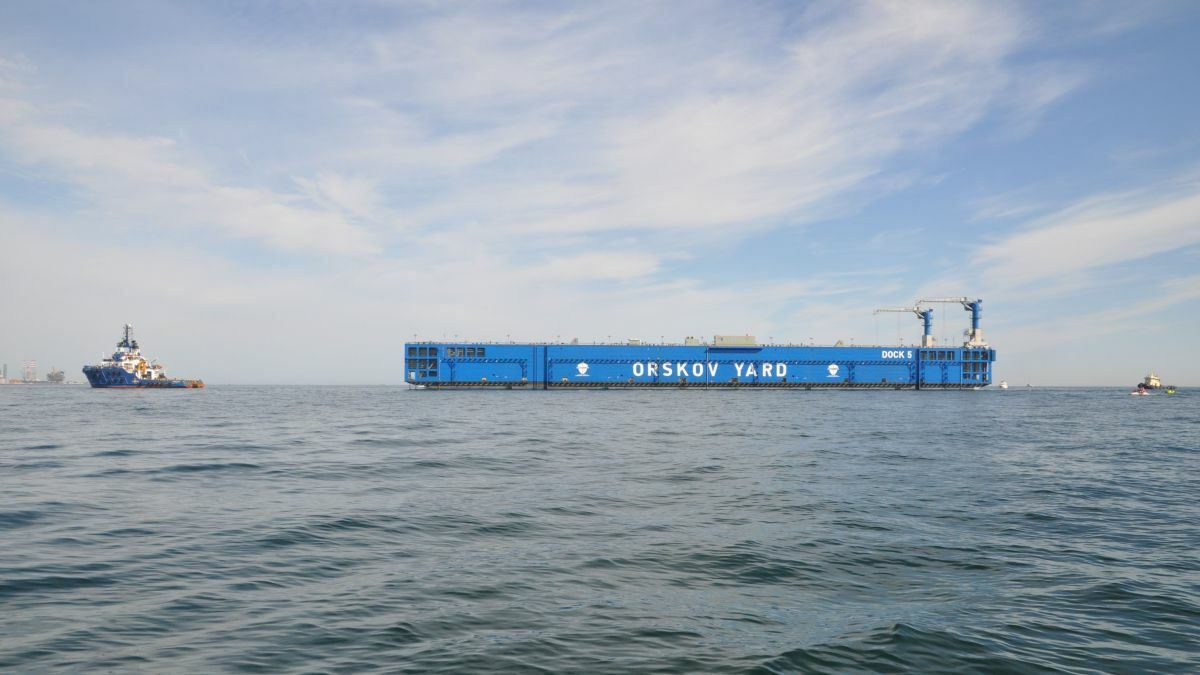 Orskov Yard's new deep-draft dock on its way to Denmark (source: Orskov Yard)