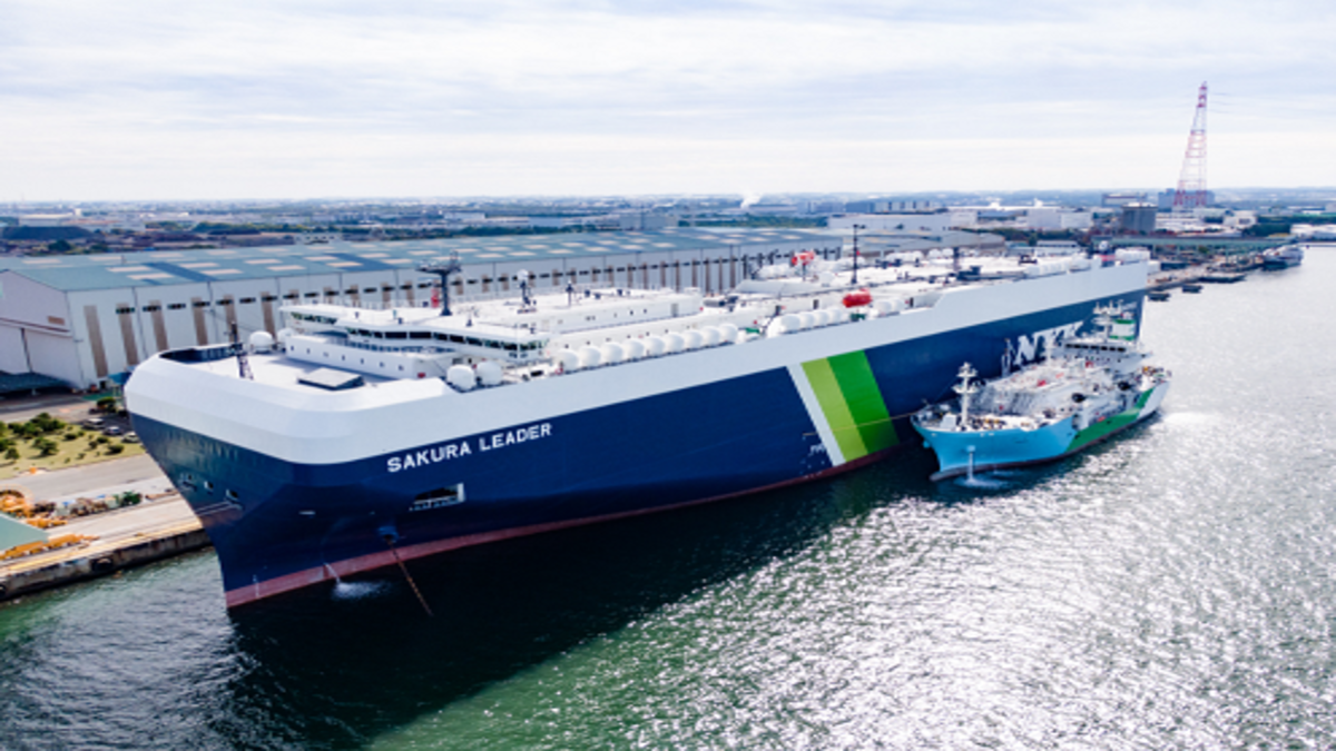 Sakura Leader completed a ship-to-ship LNG bunkering (Image: NYK Line)