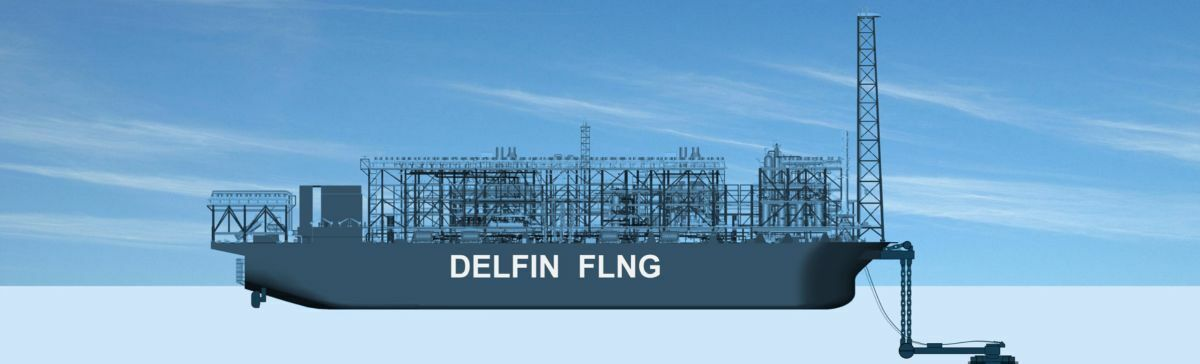 The centrepiece of Delfin LNG's plans for an LNG export facility is an FLNG vessel with a production capacity of 3.5 mta (source: Delfin LNG)