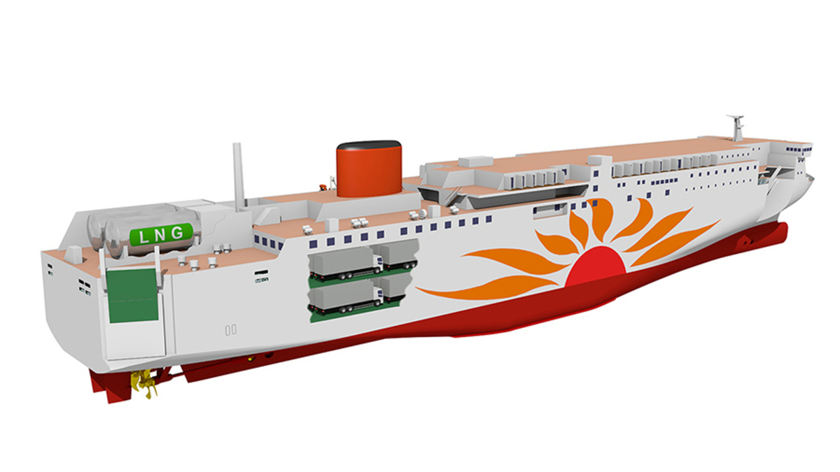 Two LNG-fuelled ferries under construction in Japan are expected to produce 20% less CO2 emissions than ones powered by HFO (source: MOL)