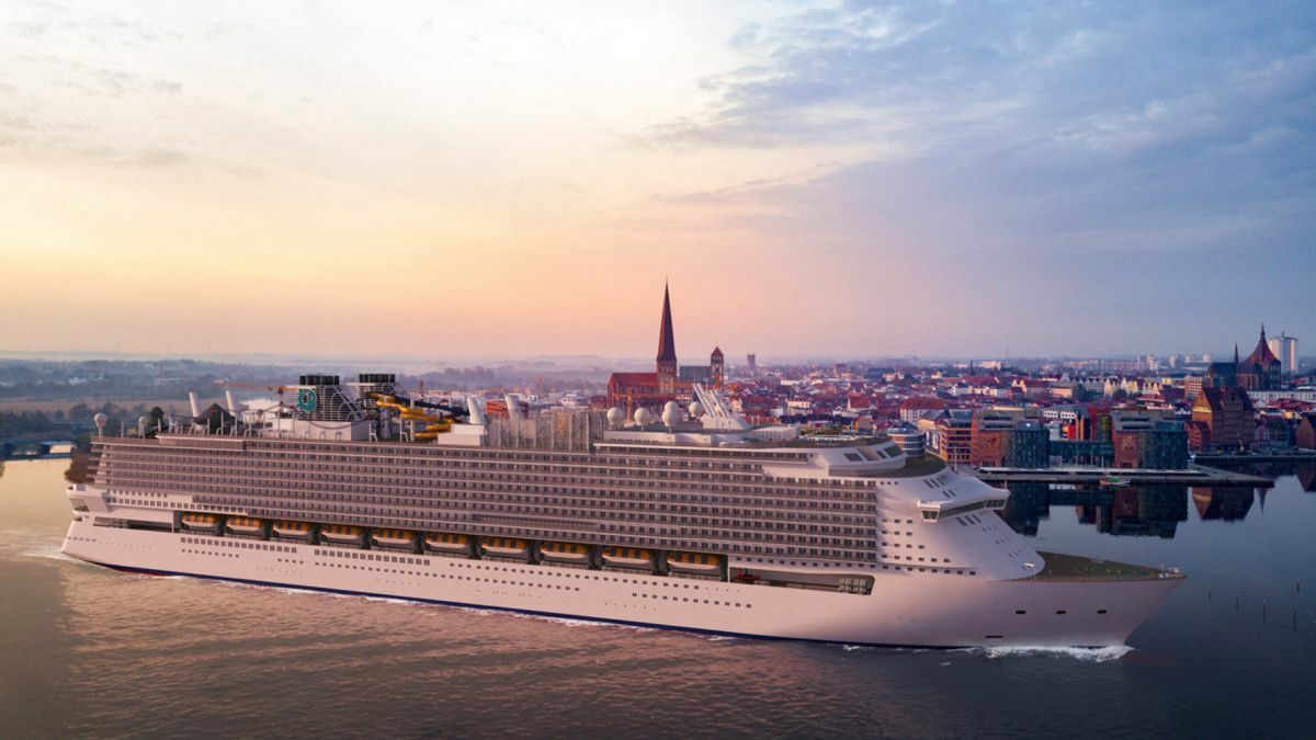 Giant of the oceans: the proposed Global-class cruise ship with Rostock in the background (Source: MV Werften Wismar)